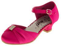 Girls Satin Diamante Wedding Party Shoes Thumbnail 3