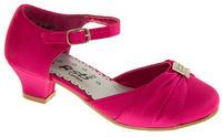 Girls Satin Diamante Wedding Party Shoes Thumbnail 4