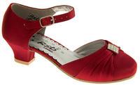 Girls Satin Diamante Wedding Party Shoes Thumbnail 6