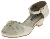 Girls Satin Diamante Wedding Party Shoes Thumbnail 7