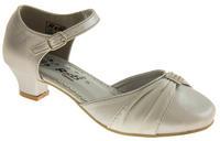 Girls Satin Diamante Wedding Party Shoes Thumbnail 8