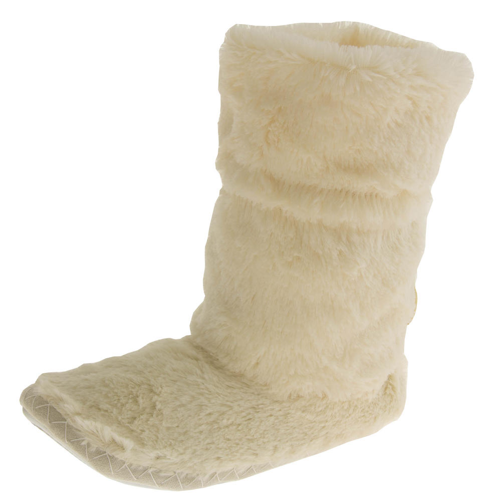 Ladies Faux Fur Slouch Slipper Boots