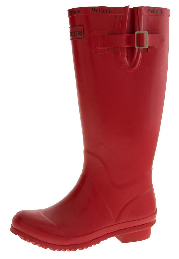 Womens WETLANDS Red Knee High Wellington Boots