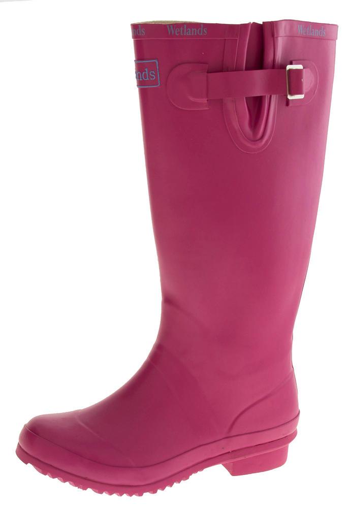Womens WETLANDS Pink Knee High Wellington Boots