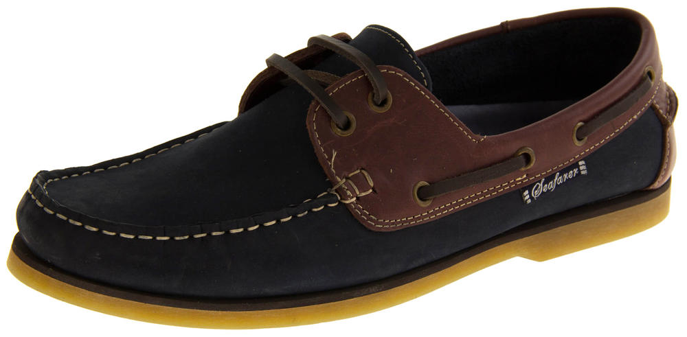 Mens SEAFARER Leather Lace Up Sailing Deck Shoes