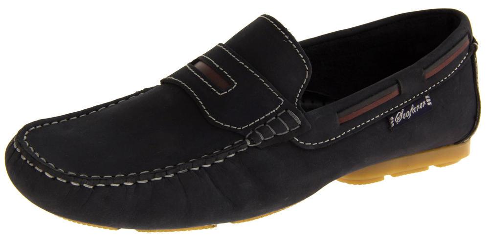 Mens SEAFARER Suede Leather Slip On Moccasin Deck Shoes