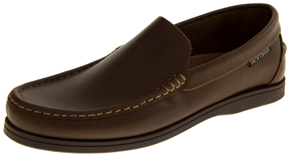 Mens YACHTSMAN Leather Slip On Moccasin Deck Shoes