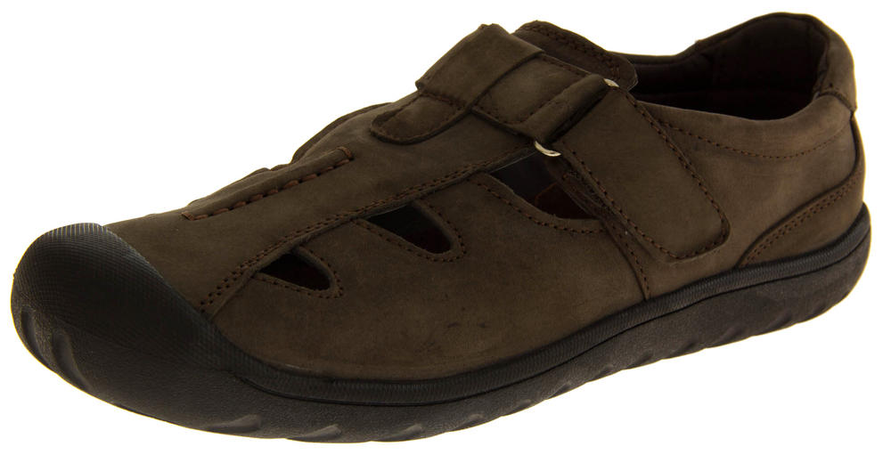 Mens SHORESIDE Leather Closed Toe Sports Sandals