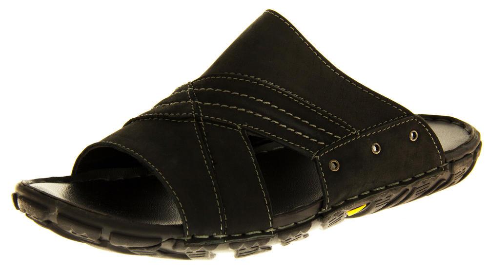 Mens SHORESIDE Leather Open Toe Mule Sandals