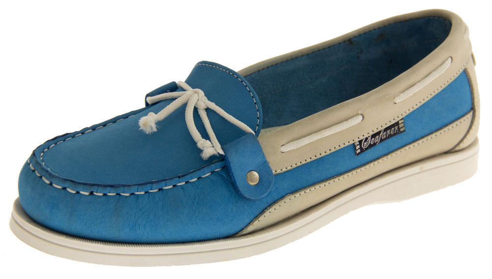 Womens SEAFARER Leather Moccasin Deck Shoes