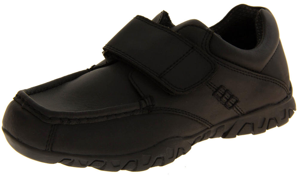 Boys Leather Formal Velcro School Shoes