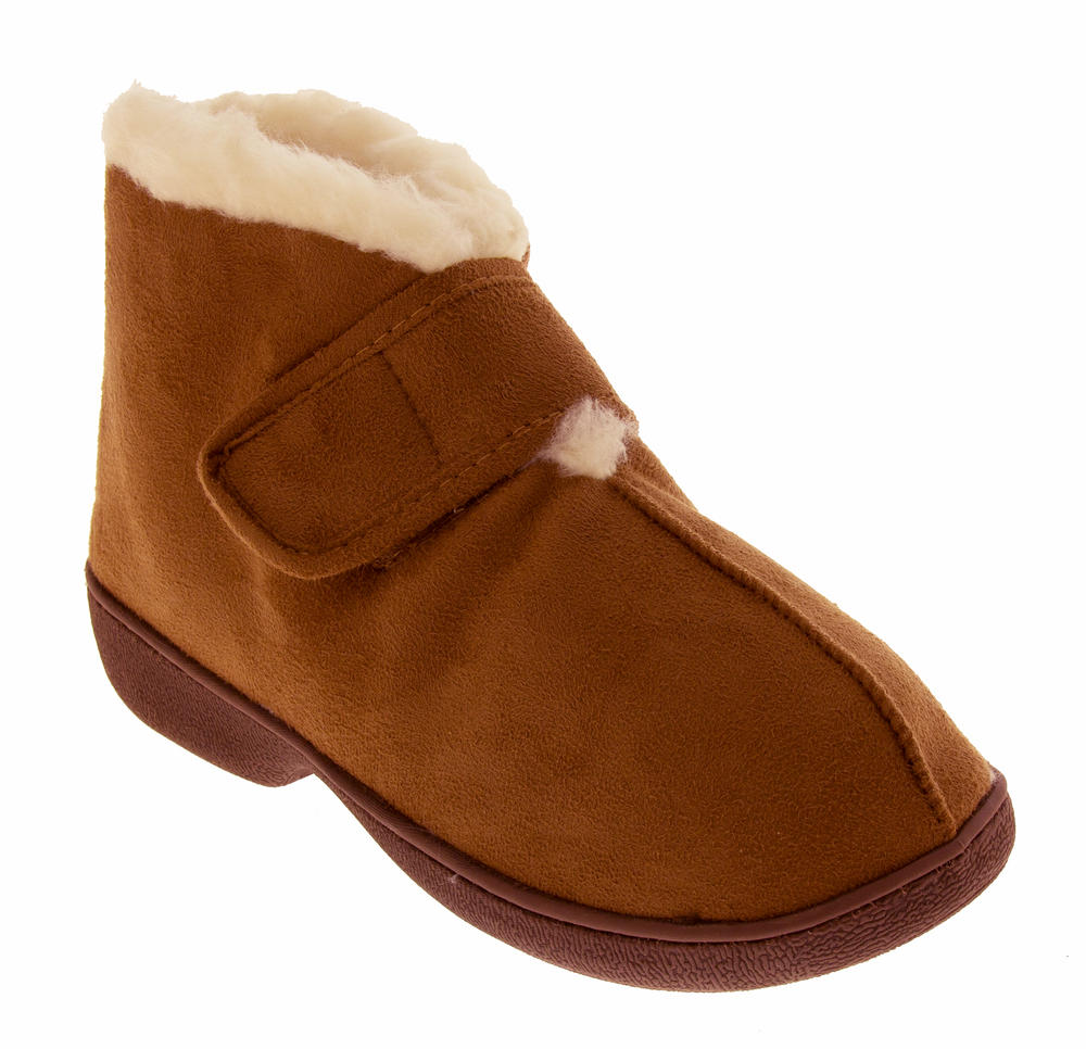 boot slippers velcro adjustable warm winter faux