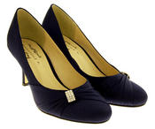 Womens Low Heel Satin Diamante Court Shoes Thumbnail 6