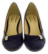 Womens Low Heel Satin Diamante Court Shoes Thumbnail 7