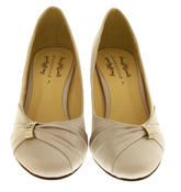 Womens Low Heel Satin Diamante Court Shoes Thumbnail 11