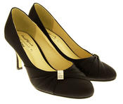 Womens Low Heel Satin Diamante Court Shoes Thumbnail 2