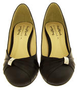 Womens Low Heel Satin Diamante Court Shoes Thumbnail 3