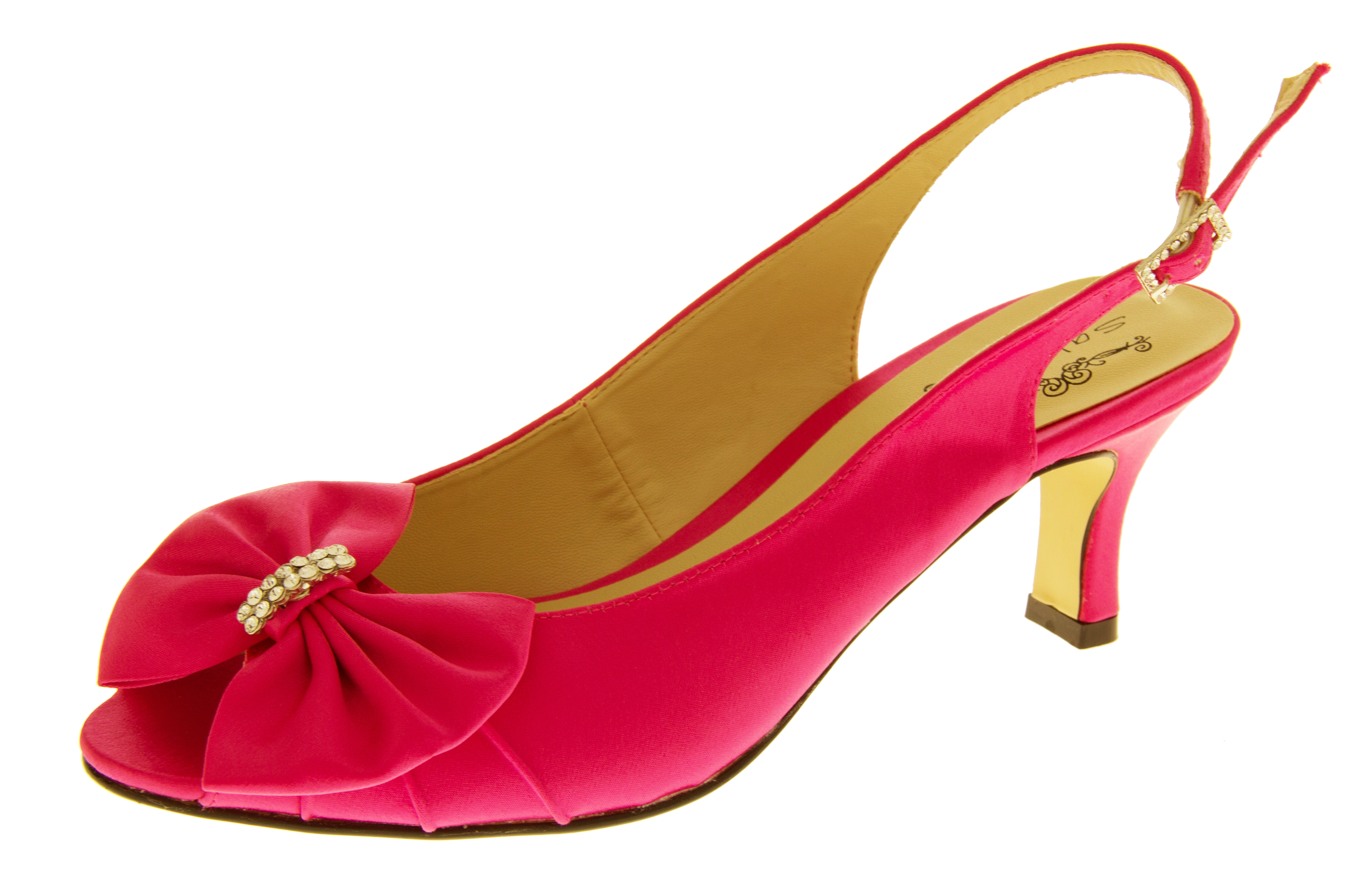 Red Kitten Heel Slingback Shoes