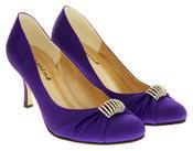 Ladies Satin Diamante Court Shoes Wedding Shoes Thumbnail 5