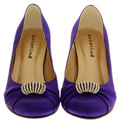 Ladies Satin Diamante Court Shoes Wedding Shoes Thumbnail 6