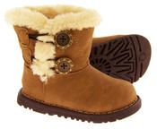 Infant Girls Fur Lined Twin Button Winter Boots Thumbnail 12