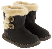 Infant Girls Fur Lined Twin Button Winter Boots Thumbnail 2