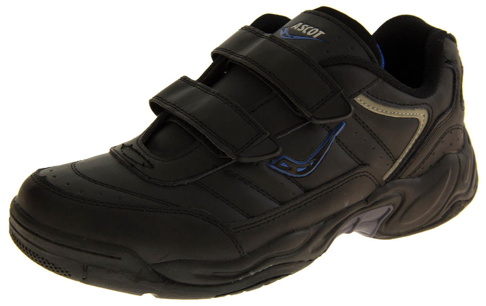 Mens LEATHER ASCOT Velcro WIDE FIT Trainers