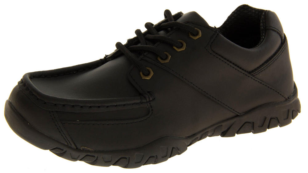 Boys Black Leather Lace Up Back To School Shoes