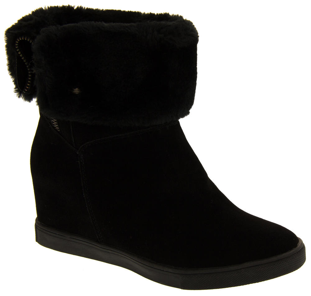 womens keddo thick fur lined wedge boots womens