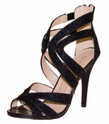 Ladies High Heel Glitter Sandals Strappy Stiletto Party Shoes 3 4 5 6 7 8  Thumbnail 1