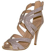 Ladies High Heel Glitter Sandals Strappy Stiletto Party Shoes 3 4 5 6 7 8  Thumbnail 10