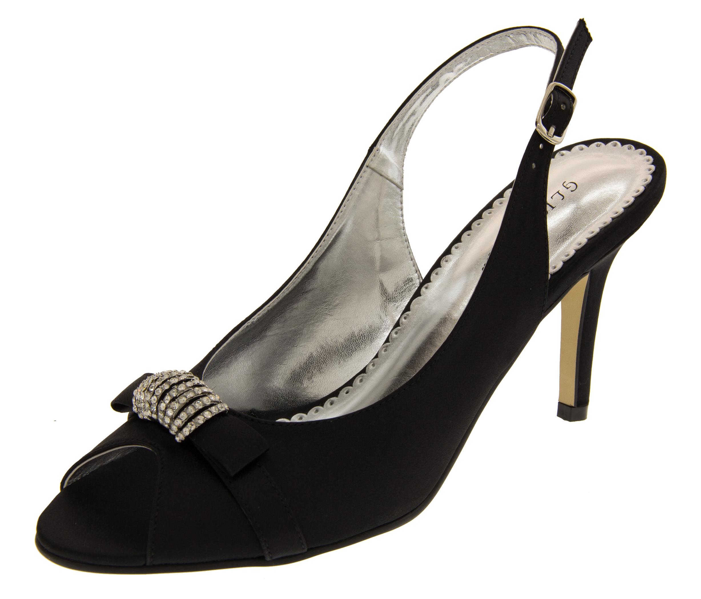 Ladies Mid Heel Peep Toe Wedding Shoes Elegant Satin