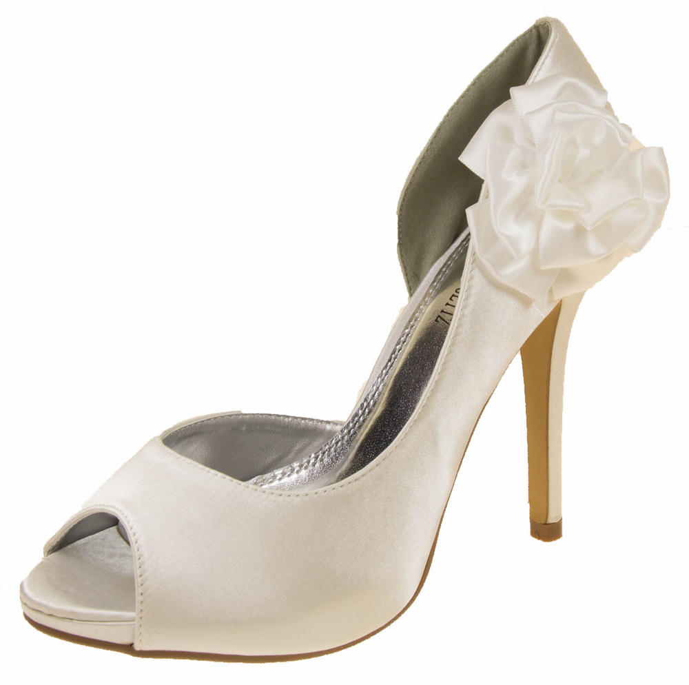Womens Satin Flower Wedding Shoes Bridesmaids Heels