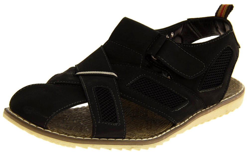 Mens SHORESIDE Leather & Mesh Walking Sports Sandals