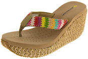 Ladies DUNLOP Toe Post High Woven Wedge Sandals