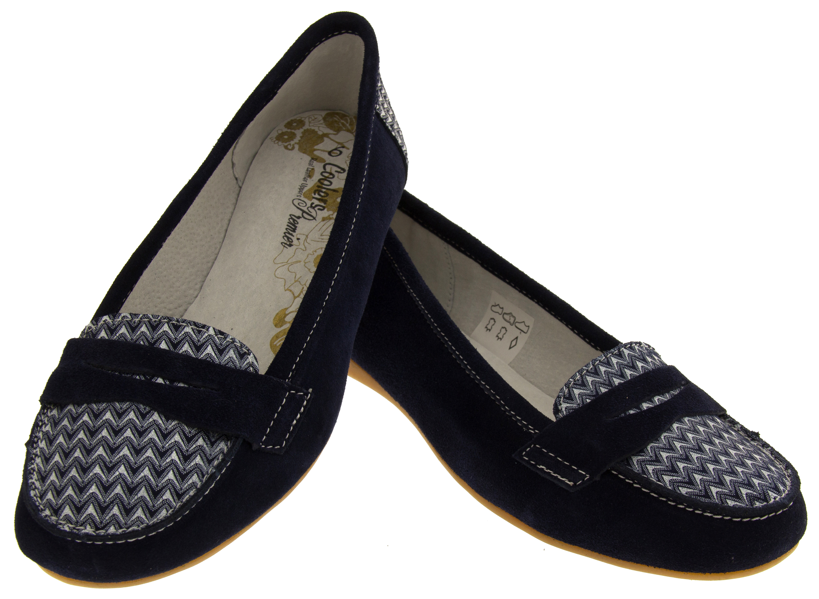 Womens Navy Blue Suede Leather Loafers Shoes Ladies COOLERS Slip On Flats Size 7 | EBay