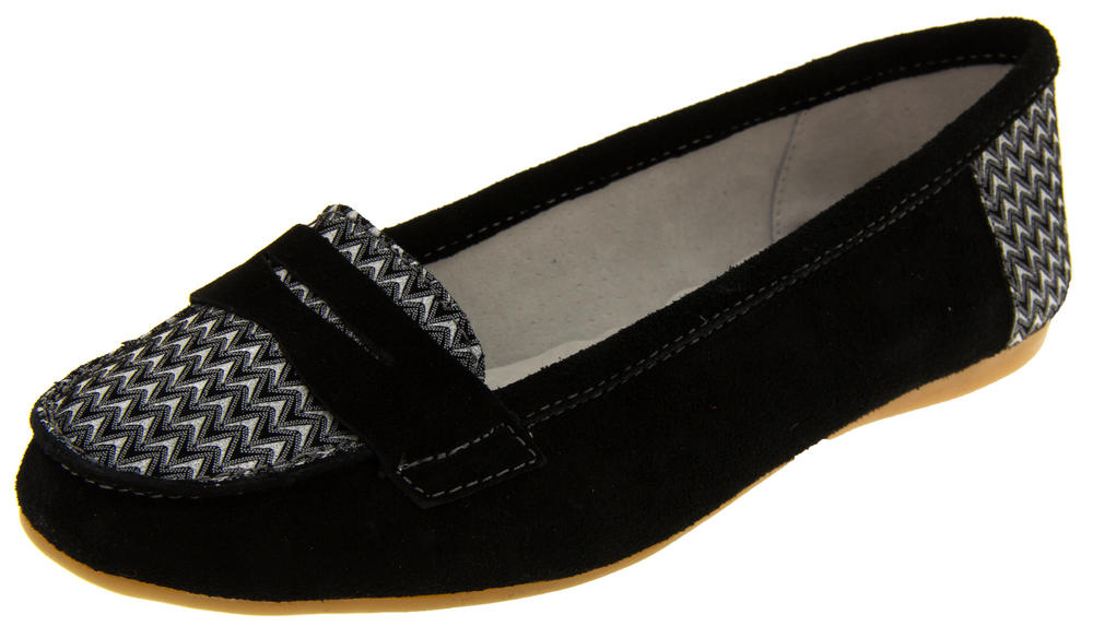 Womens Suede Leather Loafers Shoes Ladies COOLERS Slip On Flats Size 4 5 6 7 8