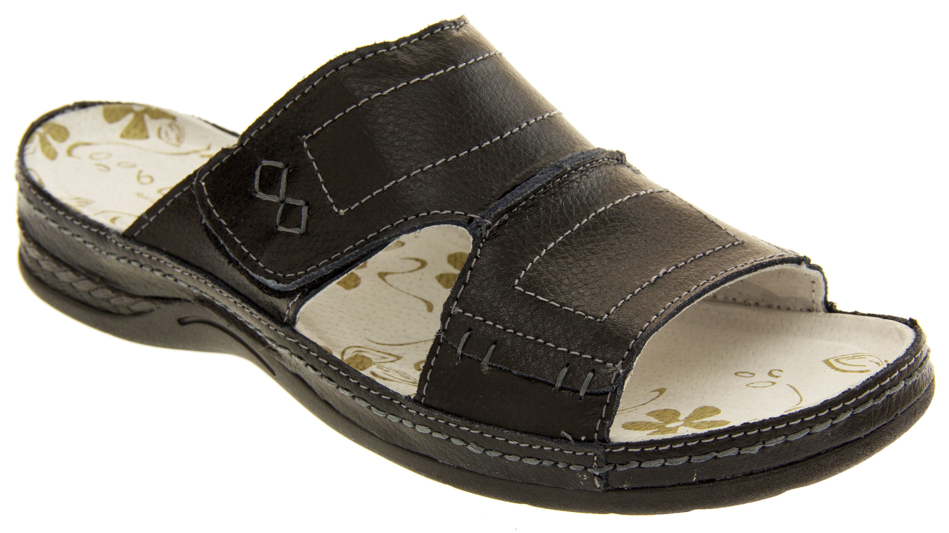Awesome Earth Spirit Ladies Arlington Navy Double Velcro Strap Sandal 18521