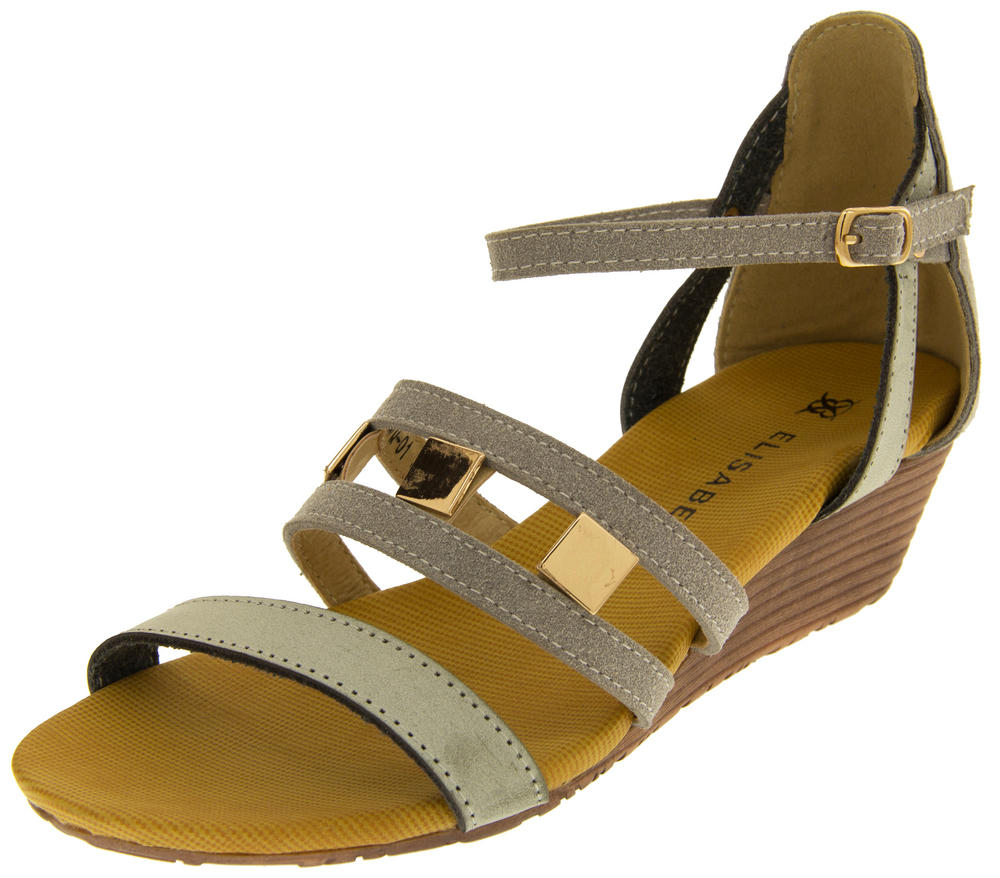 ladies elisabeth mid heel wedge sandals summer shoes