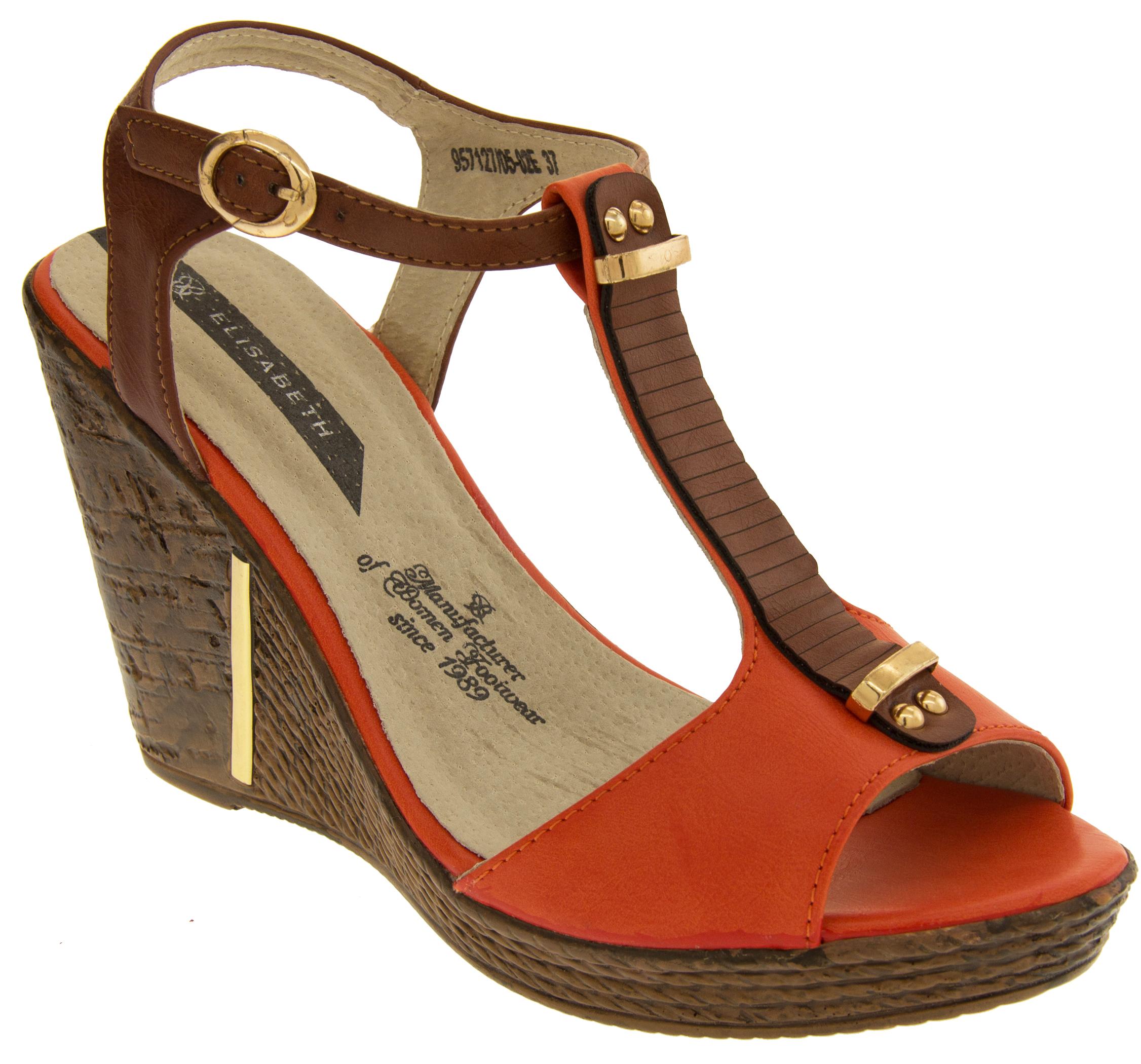 Ladies Ankle Strap Wedge Sandals Womens Peep Toe Platform ...