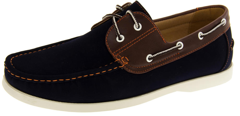 Mens SHORESIDE Lace Up Deck Shoes Casual Loafer Boat Shoe