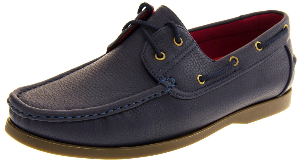 Mens SHORESIDE Lace Up Loafers Casual Smart Deck Shoes
