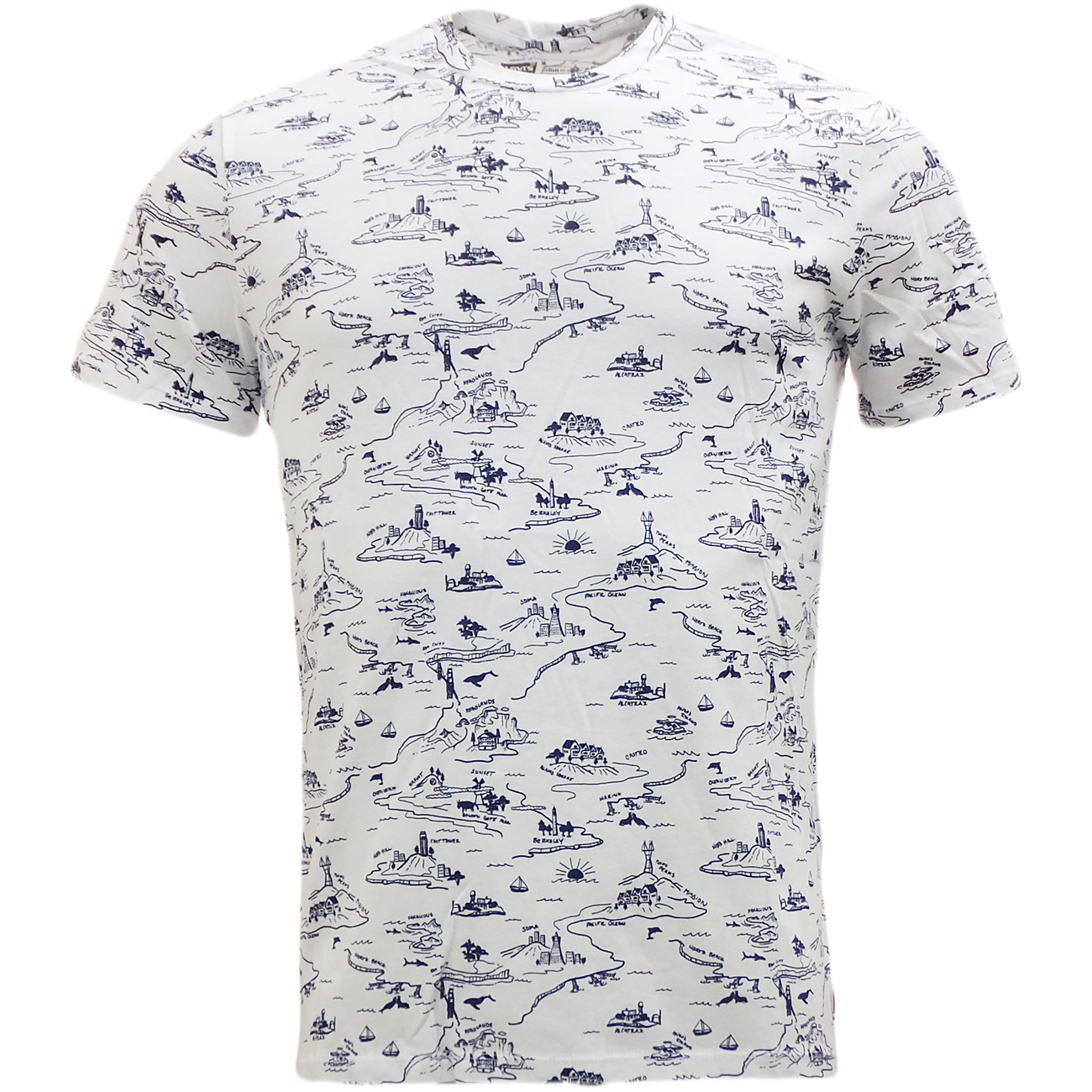 Levi Strauss Graphic T Shirt All Over Print White Ebay