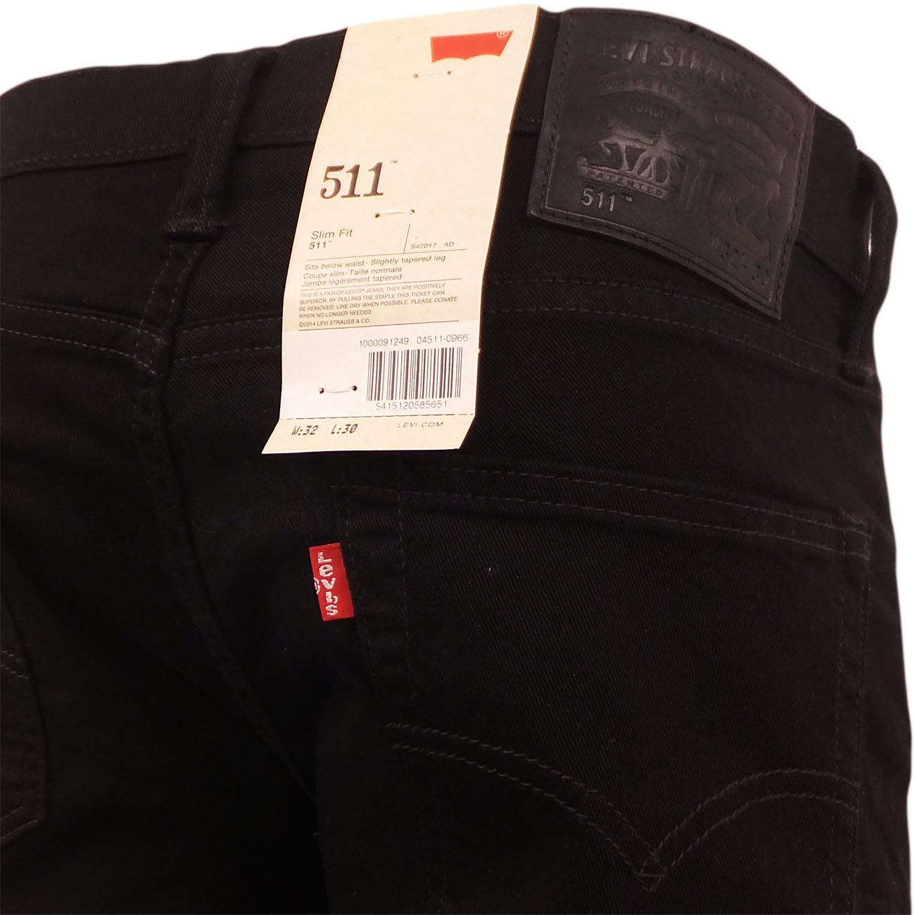 levi strauss jean 511 black slim fit slim leg mr h menswear. Black Bedroom Furniture Sets. Home Design Ideas