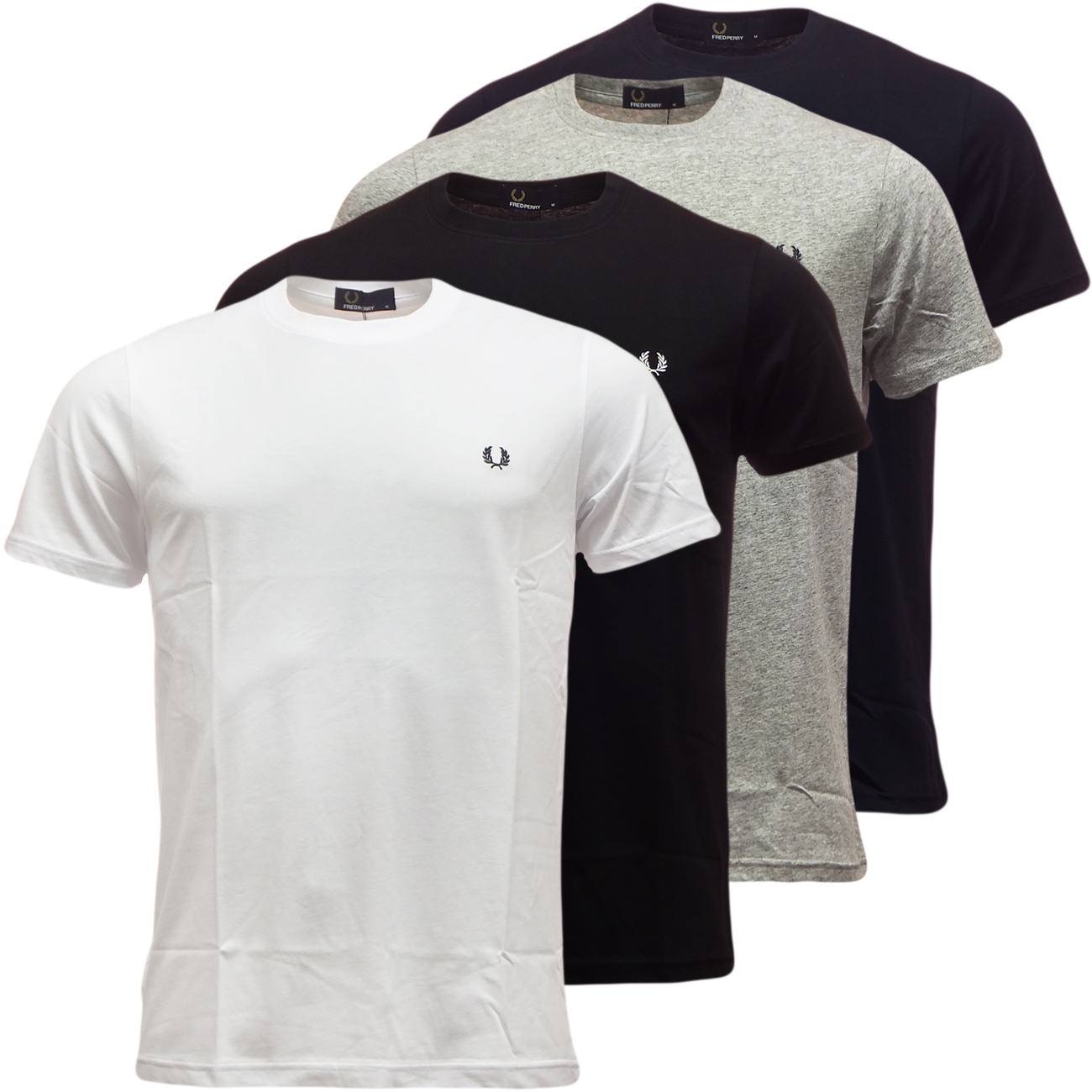 Fred Perry Crew Neck T-Shirt Plain Round Neck Mens Top Black or White All Sizes