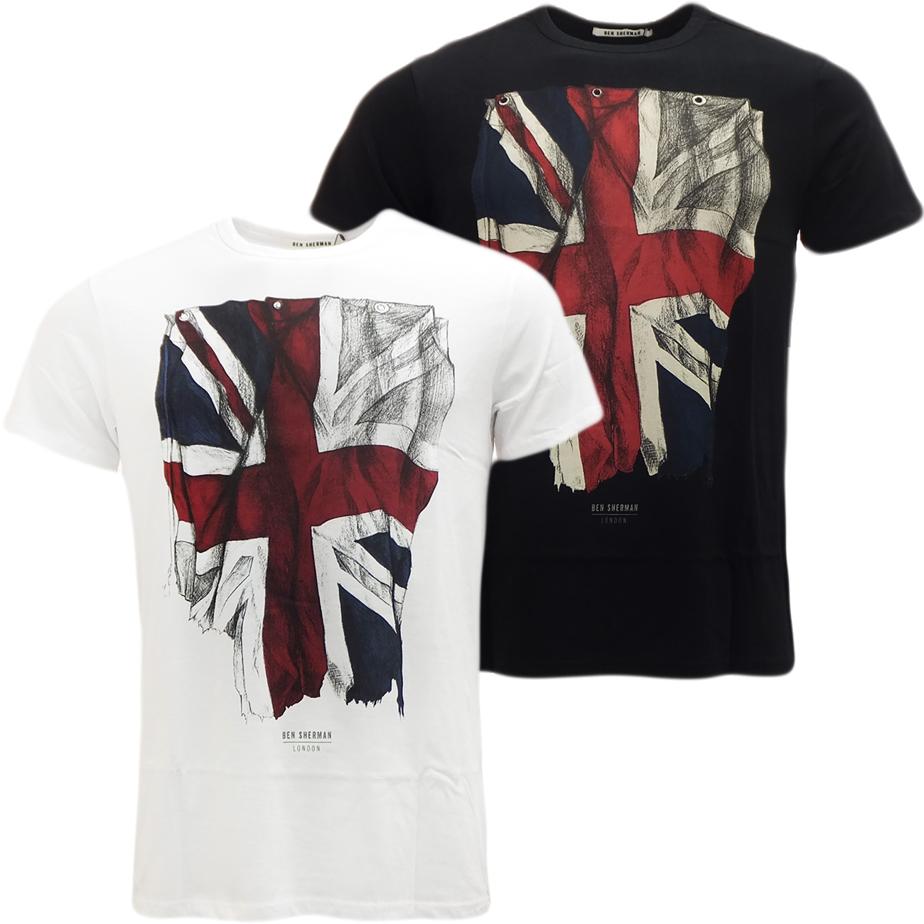 Mens T Shirts Ben Sherman Union Jack T Shirt Mod Retro