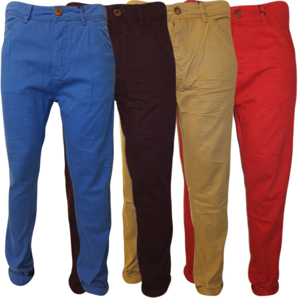 Brave Soul Mens Chinos Trouser Pants Slim Fit Chino Royal Blue Tan ...