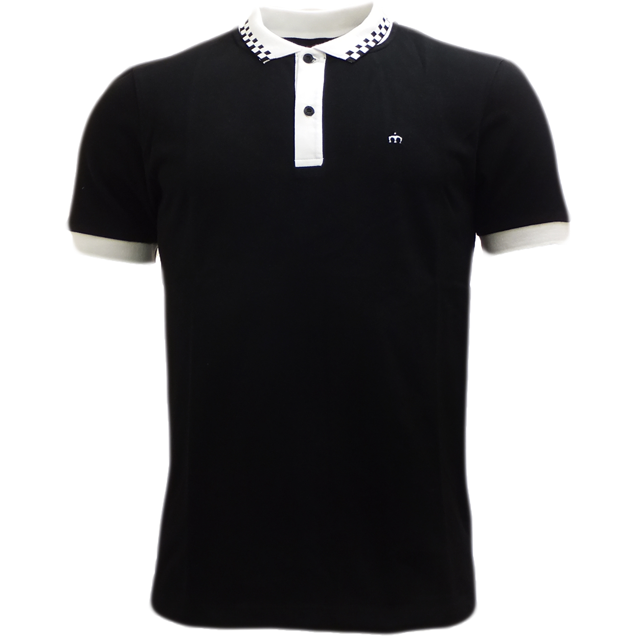 Merc black polos mod retro slim fit checkered collar for Black fitted polo shirt