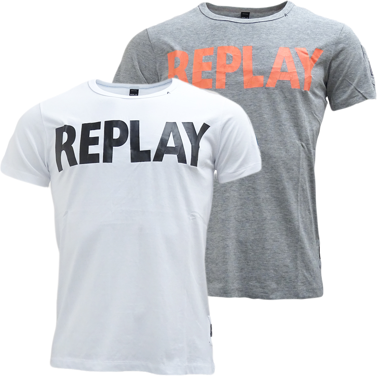 replay t shirt with cracked effect logo t shirts mr h menswear. Black Bedroom Furniture Sets. Home Design Ideas