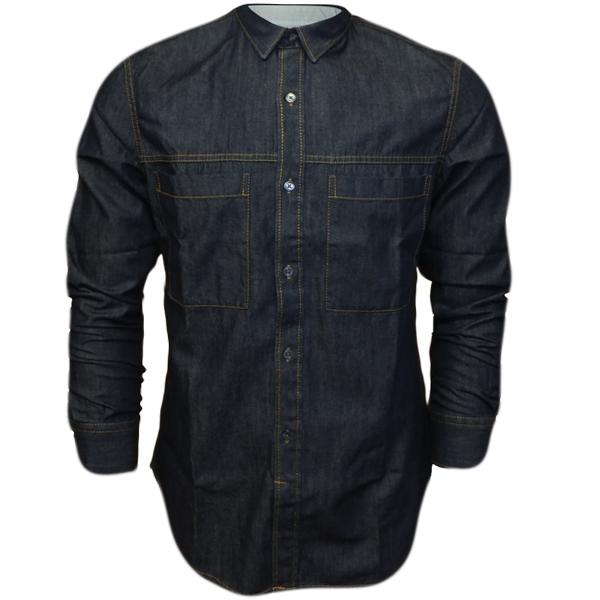 the gallery for gt dark blue denim shirt men